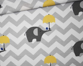 Elephant, 100% cotton fabric printed 50 x 160 cm pattern grey elephants with yellow umbrella on a gray and white chevron