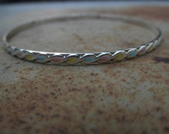 Tricolor Enamel infinity bangle bracelet sterling silver
