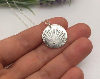 Starburst Necklace Fine Silver Disc Pendant