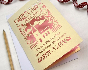 Personalised Papercut Floral Baptism Church Laser Cut Card, Laser Cut Baptism Card, sku_floral_christening