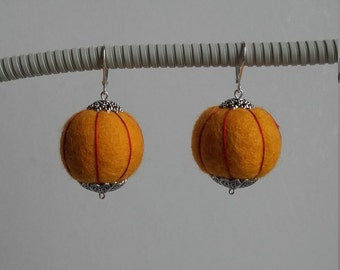 Felted wool ball embroidered boiled jewel color yellow gold hoop earrings