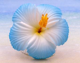 Blue Hibiscus Hair Clip, 2 3/4 Inch,  Hair  Flower, Beach Wedding, Hibiscus, Foam Flower
