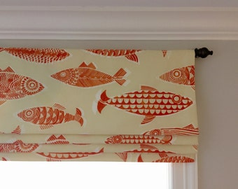 Faux (fake) flat roman shade valance.  Your choice of fabric (up to 10 dollars/yard) included!  Custom Sizing.  Fishful Thinking Coral.