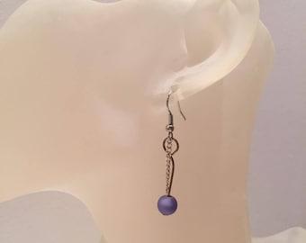 Purple chain Pearl Earrings