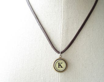 Typewriter Key Necklace. Letter K Necklace. Vintage Typewriter Key Necklace. Personalized Initial. Adjustable Leather Necklace. Unisex Gift.