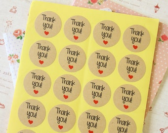 Kraft Paper Thank You with Love Heart printed round sticker labels