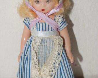 "Nancy Ann Storybook Doll 5.5"" Blue Stripe Dress Sleep Eyes"