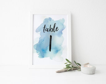 Instant Download Watercolor Splash Table Numbers / Bright Blue Watercolor / Brush Lettering / Digital Print-at-Home File Table Numbers 1-20