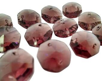 50 Burgundy 14mm Octagon Chandelier Crystal Beads