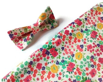 Mens gift , floral bow tie , pocket square for men , wedding accessories , groomsmen outfit , groom attire