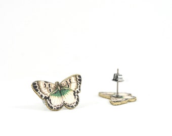 White Butterfly Post Earring Studs Butterfly Jewelry Shrink Plastic Bug Jewelry Butterfly Earring White Earring Stainless Steel