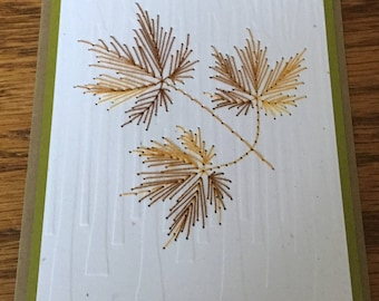 2 hand stitched autumn leaf cards