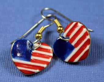 American Flag Heart Dangle Earrings Handmade in USA Porcelain Earrings