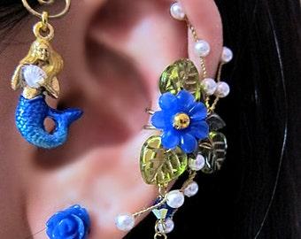 Blue Mermaid Ear Cuff - Blue Mermaid Earrings - Nautical Mermaid Ear Cuff - Ocean Ear Cuff - Mermaid Ear Wrap - Long Earcuff - Cuff Earring