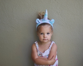 Unicorn Headband pastel blue and purple, organic, hand dyed with eco friendly dyes and love, eco kids, vegan kids