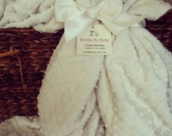 White Minky Blanket Adult Christmas Gift - Throw Blanket Neutral Cream Minky Bedding Teen Adult EXTRA LARGE Blanket Name Embroidery