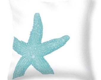 STARFISH PILLOW in square or lumbar sizes, aqua and white, beach decor, coastal decor, home accents, home decor, summer decor