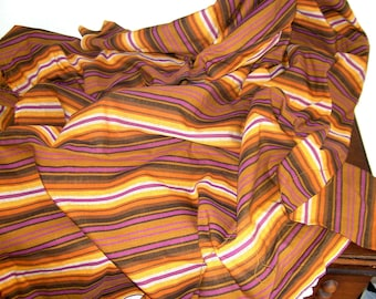 "vintage 1960s yardage ... striped cotton in orchid/purple, tan, and brown ... 2.25 yards, 59"" wide"