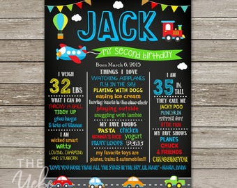 Transportaton Birthday Poster | Birthday Chalkboard Sign | Planes, Trains & Automobiles Party | Transportation Chalkboard Poster | Printable