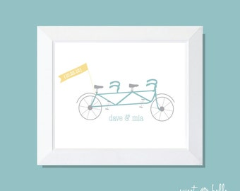 Tandem Bike Wedding Print, Tandem Bike Home Decor, Tandem Bike Print, Bike Typography, Bridal Shower Gift, Tandem Bike