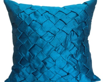 Blue Pillow Cover, Textured Pillow Cover, Minimalist Pillow, SMOCKING Throw Pillow Cover