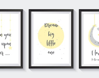 Nursery bedroom grey and yellow -  A4 Prints - wish upon a star. dream big. I love you