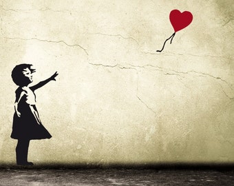 BANKSY Wall decal BALLOON GIRL with heart Street Art Wall Sticker Urban Wall Art Vinyl Art & BANKSY Wall decal BALLOON GIRL with heart Street Art Wall