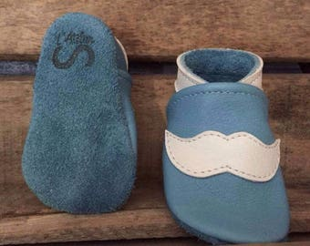Baby shoes mustache kids leather - multiple colors and sizes available