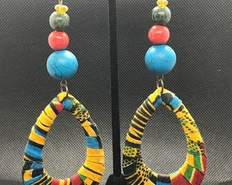 Kente Teardrop Hoop Earrings