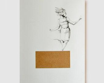 Female drawing, dancer drawing, modern dancer art, collage art, ballet drawing, original drawing, ballerina drawing, female pencil drawing
