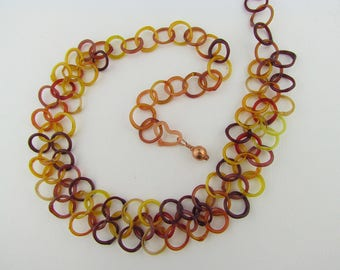 Chainmaille necklace, Hand Blown Glass Chain, Unique Bridesmaid Gift, Lampwork Art Glass, Fall Jewelry, Red Boro, Borosilicate, Heady Glass