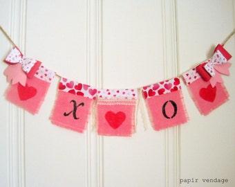 XOXO Valentine banderoles bannière, rose Valentine Bunting bannière, bannière de toile de jute Bunting, Valentine photographie Prop, bannière mariage