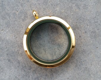 30mm Stainless Steel Locket- Gold Plain Round (chain not included)