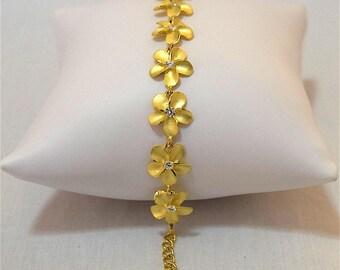Plumeria Bracelet, Sterling Silver Yellow Gold-Plated Plumeria W.CZ Bracelet, B3109