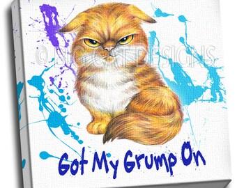 Got My Grump On - Very Grumpy Orange Tabby Cat 10x10 Ready to Hang Canvas Art Print