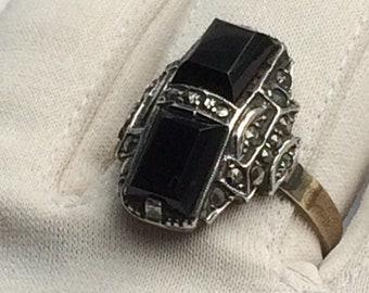 Beautiful Vintage Art Deco German 8ct Gold + Silver Onyx Ring Size U
