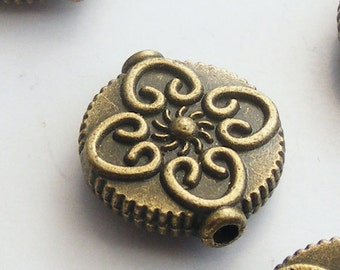 Antique Brass Flower Coin Beads 13mm (8 pcs) Z-N1020-AB