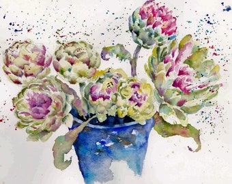 Artichokes, kitchen, veggies, Original Watercolor Painting