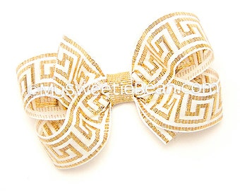 """Greek Key Bow, 3 inch Boutique Bow, Gold and Cream, 3"""" Hair Bow for Girls, Meandros Bow for Toddlers, Baby, Greek Festival Bow Metallic Gold"""