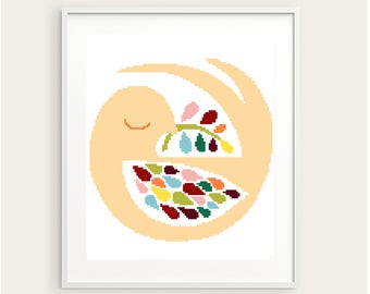 Scandinavian bird cross stitch pattern, modern geometric cross stitch, autumn leaves, home decor baby nursery, DIY,  embroidery, pdf