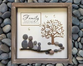 Parent Gift, Family Tree, Pebble art, Mothers Day family gift, Family Tree Picture, Personalised, gift, Family Frame, Anniversary gift, Mom.