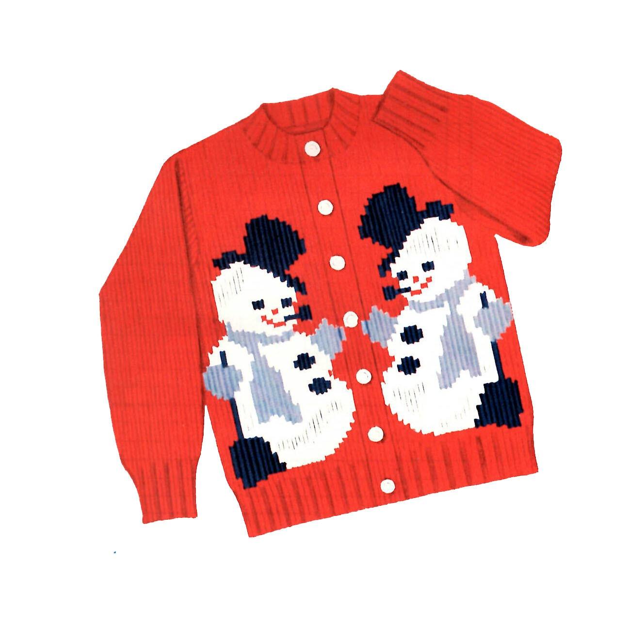 Snowman Sweater PATTERN 1950s Knit O Graf 205 PATTERN Snowman