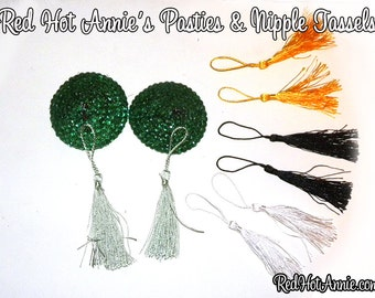 Rhinestone Burlesque Pasties w/Detachable Replaceable Tassels - Green + (4) Sets Different Colored Tassels