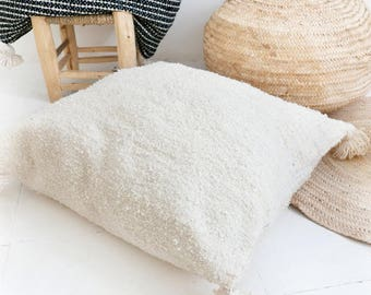 Giant Moroccan POM POM pillow cover - wool natural undyed - Couscous