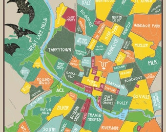 Original Neighborhoods of Austin Map // Austin Texas Print Poster