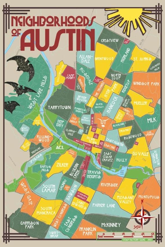 Original Neighborhoods of Austin Map Austin Texas Print
