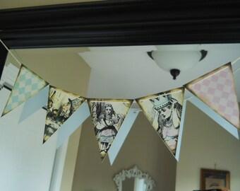 Alice In Wonderland banner, Alice in wonderland garland, Alice in wonderland bunting