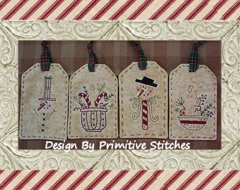 Snowman/Candlelite Mini Collection 1-Primitive Stitchery  E-PATTERN by Primitive Stitches-Instant Download