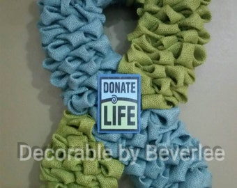 Donate life awareness burlap wreath