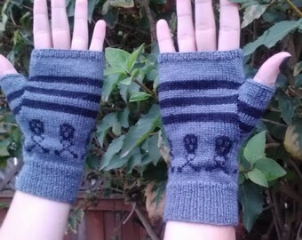 Fingerless gloves, stripes with band of skulls and crossbones pattern, wool blend sock yarn, adult size small/medium